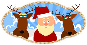 Santa and two reindeer Stock Image
