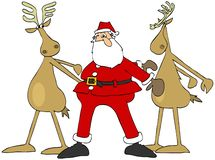 Santa and two reindeer doing the floss dance royalty free illustration