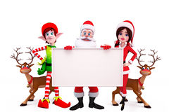 Santa with two reindeers and a big sign Royalty Free Stock Images