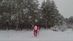 Santa in un cappotto rosso con una borsa e una barba bianca ed in una giovane nipote nel legno nell'inverno stock footage