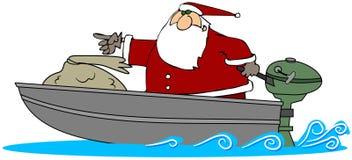 Santa in un'imbarcazione a motore Immagini Stock