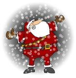 Santa in una bufera di neve Immagine Stock