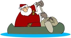 Santa in una canoa Fotografia Stock