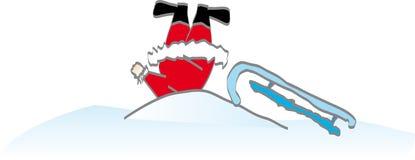 Santa in una neve Illustrazione Vettoriale