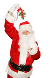 Santa Under Mistletoe stock photo