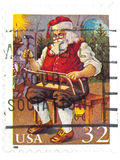 Santa US old stamp. On pure white background Stock Image