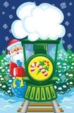 Santa va in treno di natale Immagini Stock