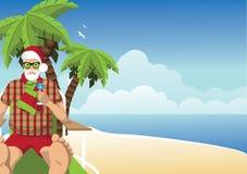 Santa Vacationing sulla spiaggia con il fondo di martini Immagini Stock