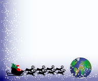 Santa van de kerstkaart aan wereld stock illustratie