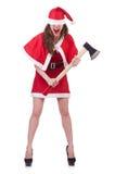 Santa van het sneeuwmeisje in Kerstmisconcept Stock Fotografie