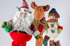 Santa van Kerstmis, rendier, sneeuwman Stock Afbeeldingen