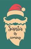 Santa vient Descripteur d'affiche Images libres de droits