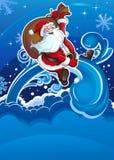 Santa vole sur la verticale de vacances illustration de vecteur