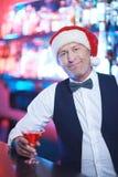 Santa w barze Zdjęcia Royalty Free