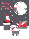 Santa w kominie z prezentami więcej toreb, Świąt oszronieją Klaus Santa niebo Obraz Stock