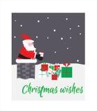Santa w kominie z prezentami więcej toreb, Świąt oszronieją Klaus Santa niebo wektor Obrazy Royalty Free