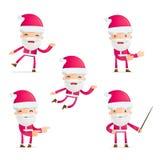 Santa w różnorodnych pozach royalty ilustracja