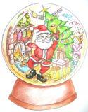 Santa w szklanej piłce Obrazy Royalty Free