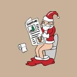 Santa w toalecie czyta gazetę ilustracji
