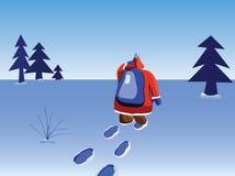 Santa walking. New year illustration. Santa going far Stock Photos