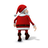 Santa walking away. 3d rendering/illustration of a cartoon santa walking away Stock Image