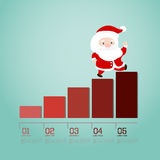 Santa walking up on businessgraph. Stock Photo