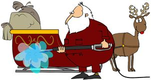 Santa Washing His Sleigh Royalty Free Stock Images