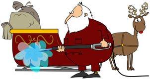 Santa Washing His Sleigh. This illustration depicts Santa Claus power washing his sleigh Royalty Free Stock Images