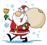 Santa waving a bell and walking with his toy sack Royalty Free Stock Photos