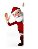 Santa waving with blank sign Royalty Free Stock Photo