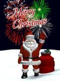 Santa Waving with Christmas Fireworks Royalty Free Stock Photography