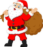 Santa waving and holding sack Stock Photography