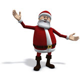 Santa welcomes you. 3d rendering/illustration of cartoon santa claus with open arms Stock Images