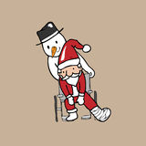 Santa wheel chair snowman Royalty Free Stock Photos