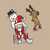 Santa wheel chair snowman Stock Photography