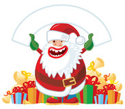 Santa with white banner Stock Photos
