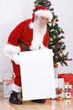 Santa with a white board Royalty Free Stock Photos