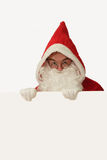 Santa with White Board Stock Photography