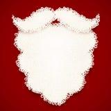 Santa white curly beard on dark red background Stock Photo