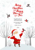 Santa winter card. Cartoon character Santa Claus on winter holiday invitation. Template Christmas sample for banners, advertising, leaflet, cards, invitation and Stock Photos