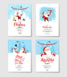 Santa winter holiday card. Cartoon character Santa Claus on winter holiday invitation. Template Christmas sample for banners, advertising, leaflet, cards Stock Photo