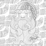 Santa on winter knitted socks seamless pattern in zentangle  Royalty Free Stock Photo