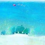 Santa and winter landscape Royalty Free Stock Photos