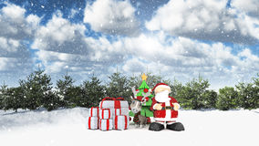 Santa in a winter landscape. 3D winter landscape with Santa and his reindeer Royalty Free Stock Image