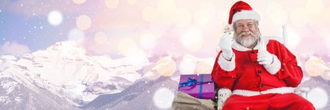 Santa with Winter landscape with gifts Royalty Free Stock Photos