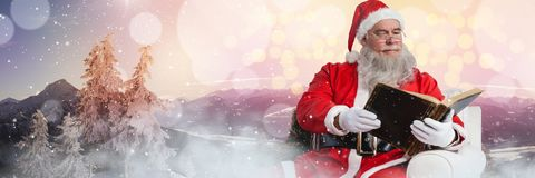 Santa with Winter landscape reading book. Digital composite of Santa with Winter landscape reading book Stock Images
