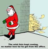 Santa and Wish Lists Following Him Stock Photo