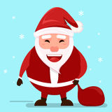 Santa wishes Merry Christmas.Smiling cheerful cartoon Santa Claus holding the bag with presents. Smiling cheerful cartoon Santa Claus holding the bag with Royalty Free Stock Photography