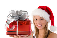 Santa With A Big Present Royalty Free Stock Photos