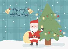 Santa With Gift Bag Celebration Happy Christmas Card Royalty Free Stock Photography